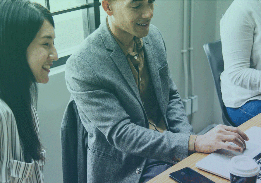 picture of two peoples look at a computer to represent consulting & expertise page